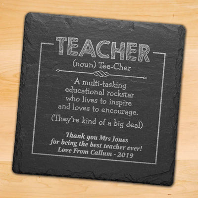 Personalised Teacher Gift - Engraved Coaster - Educational Rockstar
