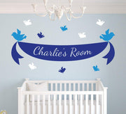 Bird Ribbon Banner Wall Art Sticker