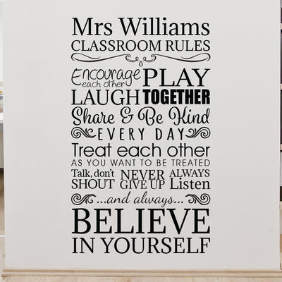 Personalised Classroom Rules Wall Sticker Decal