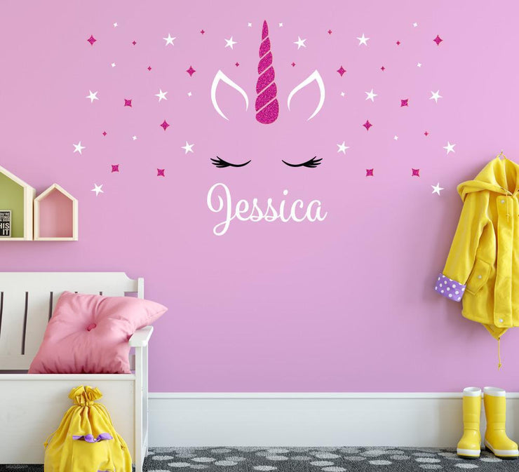 Personalised Unicorn Sparkly Wall Sticker