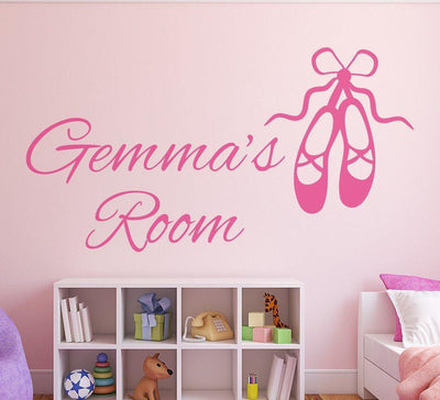 Ballet Shoes Girls Wall Art Sticker Personalised