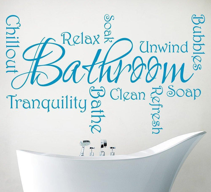 Bathroom Wall Sticker - Relax Refresh and Chillout Word Cloud Decal
