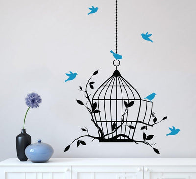 Birdcage and Birds Wall Art Sticker Decal