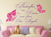 Butterflies Are Kisses Quote Wall Art Sticker