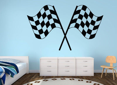 Chequered Flag Racing Boys Wall Art Sticker