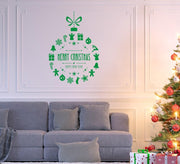 Christmas Bauble with Greetings Wall Art Sticker
