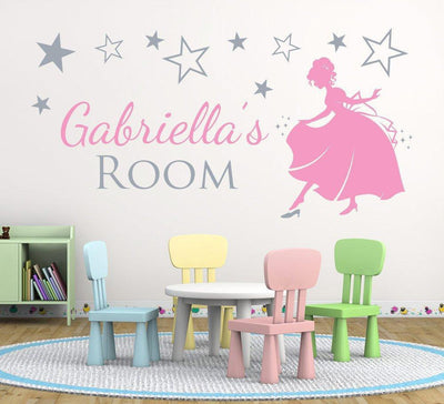 Personalised Princess With Stars Wall Sticker