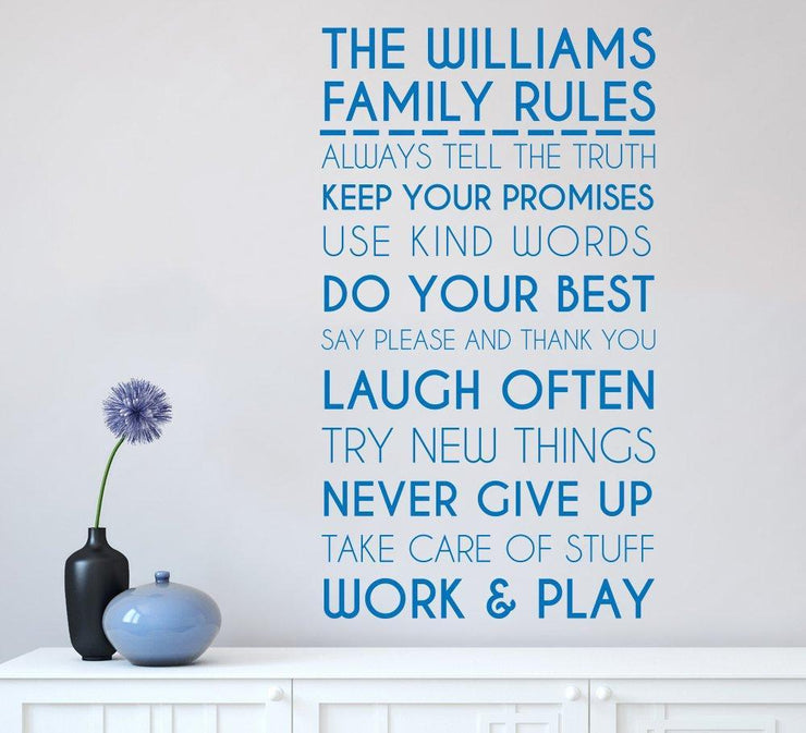 Family Rules Wall Art Sticker