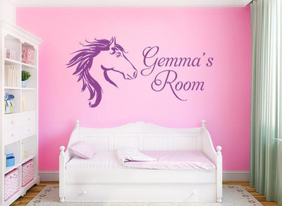 Horse Head Girls Wall Art Sticker Personalised