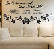 In these moments time stood still Wall Art Sticker