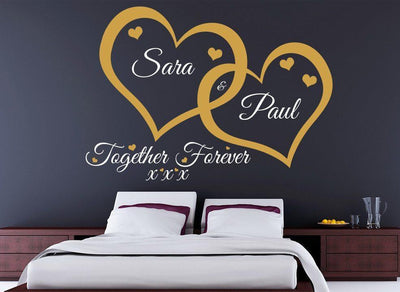 Love Hearts Wall Art Sticker Together Forever