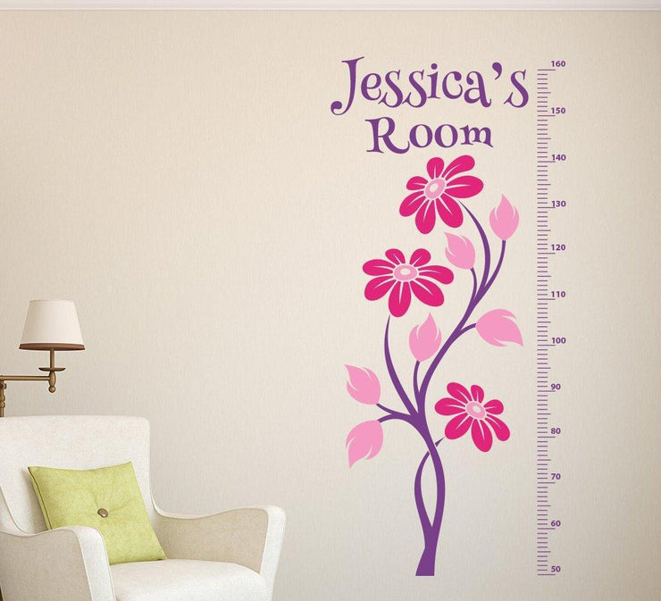 Flower Height Chart Wall Sticker Personalised