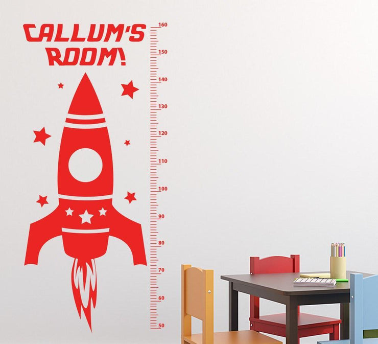 Rocket Height Chart Wall Sticker Personalised