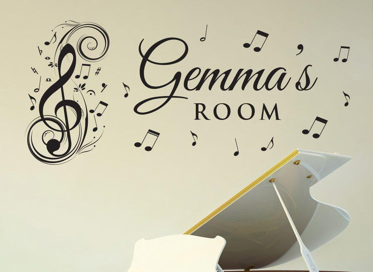 Musical Notes Wall Art Sticker Personalised