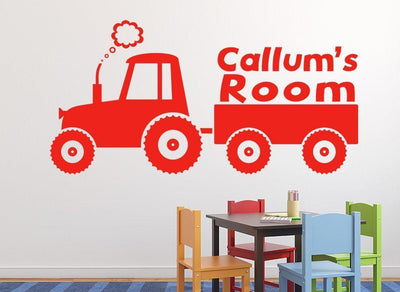 Farm Tractor Trailer Wall Art Sticker Personalised