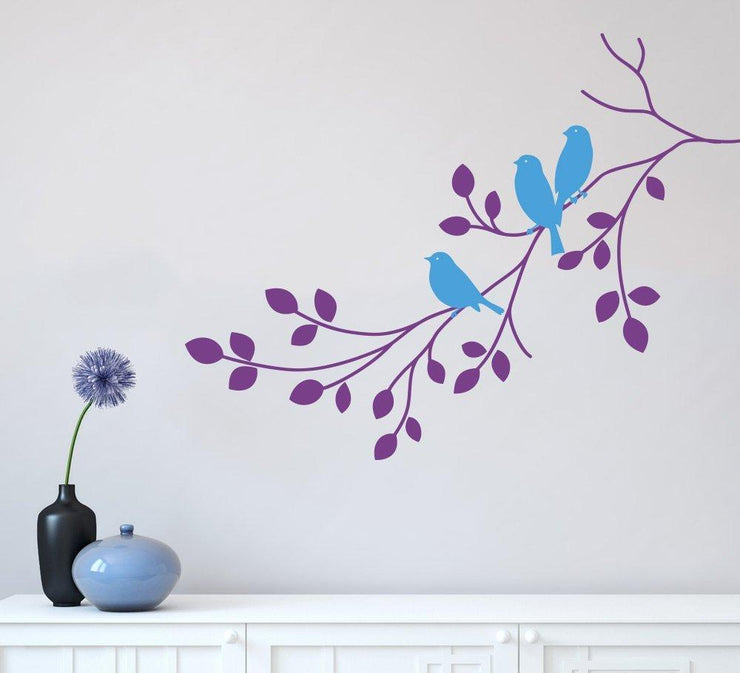 Three Birds on a Branch Wall Art Sticker