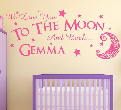 Love you to the moon and back Wall Sticker Personalised