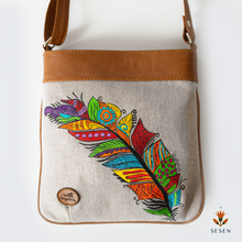 Load image into Gallery viewer, The Sesen - Canvas multi colour canvas feather print bag