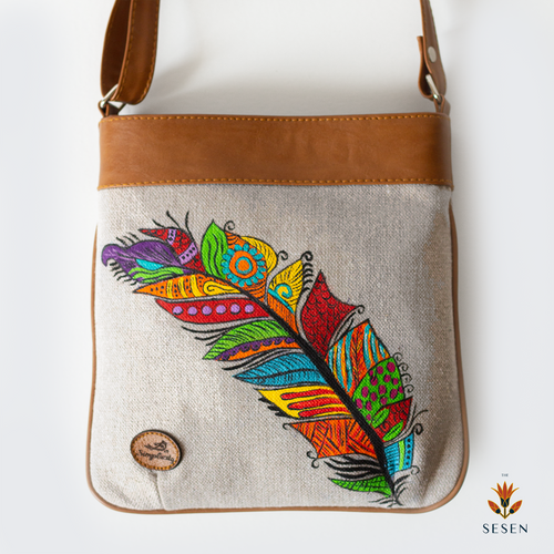 The Sesen - Canvas multi colour canvas feather print bag