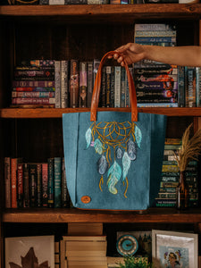 Dream Catcher Print Blue Canvas Tote Bag-By Simplicity