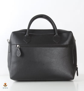 Women's Black Faux Leather Laptop Bag - By Palma