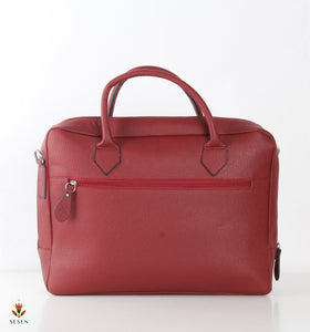 the sesen - Red leather laptop bag