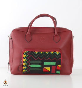 Red Faux leather laptop bag