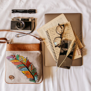 feather print canvas bag - The Sesen UK