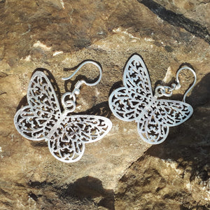 Sterling Silver Butterfly Cut Out Earrings