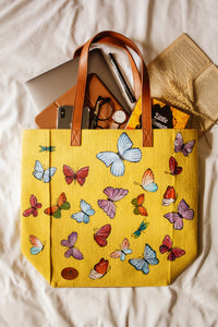 Colourful Butterflies Print Yellow Canvas Tote Bag-By Simplicity