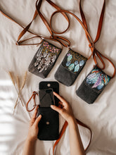 Load image into Gallery viewer, Multicolour Dream Catcher Print On Grey Canvas Phone Crossbody Bag - By Simplicity