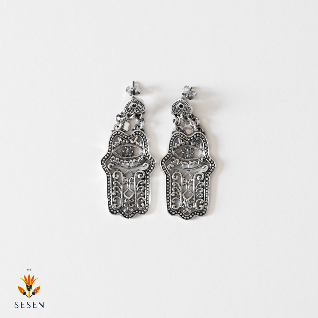 Sterling Silver Fatima Hand / Hamsa Earrings