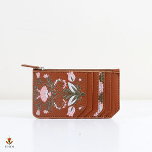 Faux Leather Brown, Flower Print Card Holder - By Palma
