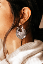 Load image into Gallery viewer, Sterling Silver Tribal Ethnic Hoop Drop Earrings