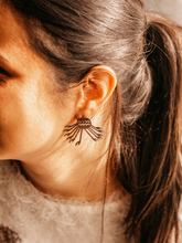 Load image into Gallery viewer, Sterling Silver Tribal Egyptian Style Sun Ethnic Earrings