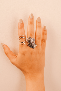 Sterling Silver Ethnic Lotus Ring