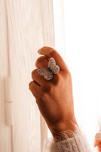 Sterling Silver Butterfly Cut out Ring