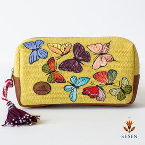Colourful Butterflies Print Yellow Canvas Small Clutch-By Simplicity