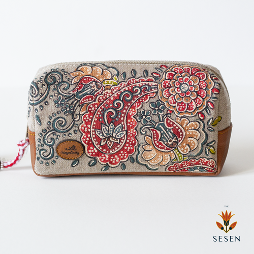 Deep Red Ethnic Print Canvas Small Clutch-By Simplicity