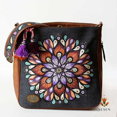Ethnic Mandala Print Grey Canvas Bag-By Simplicity