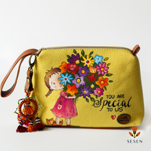Load image into Gallery viewer, Lovely Flower Boutique Print Yellow Canvas Clutch-By Simplicity