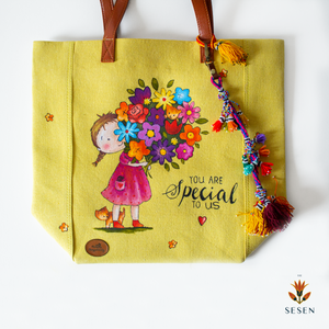 Lovely Floral Print Yellow Canvas Tote Bag-By Simplicity
