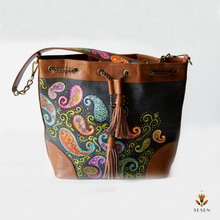 Load image into Gallery viewer, Ethnic Print Grey Canvas Bucket Bag-By Simplicity