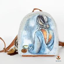 Load image into Gallery viewer, Messy Bun Beautiful Woman Blue Print Backpack