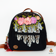 Load image into Gallery viewer, black dream catcher backpack