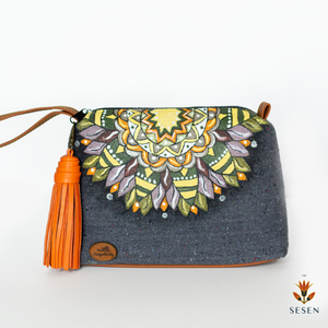 Ethnic Mandala Print Grey Canvas Clutch-By Simplicity