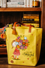 Load image into Gallery viewer, Lovely Floral Print Yellow Canvas Tote Bag-By Simplicity