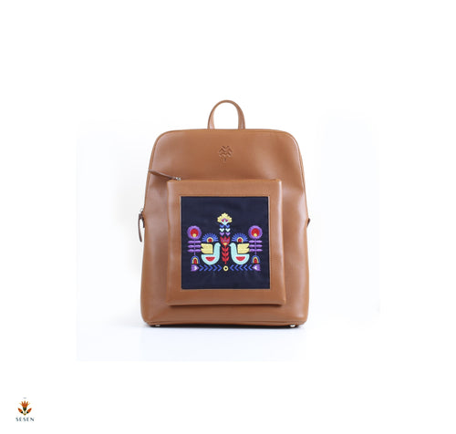 brown curvy laptop backpack | The sesen