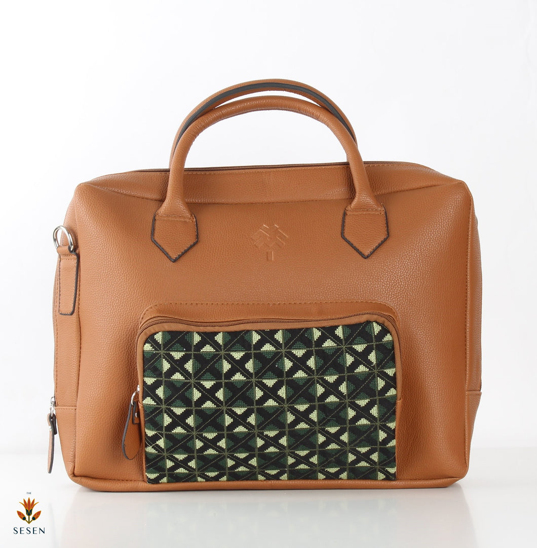 Women's Brown Faux Leather Laptop Bag - By Palma