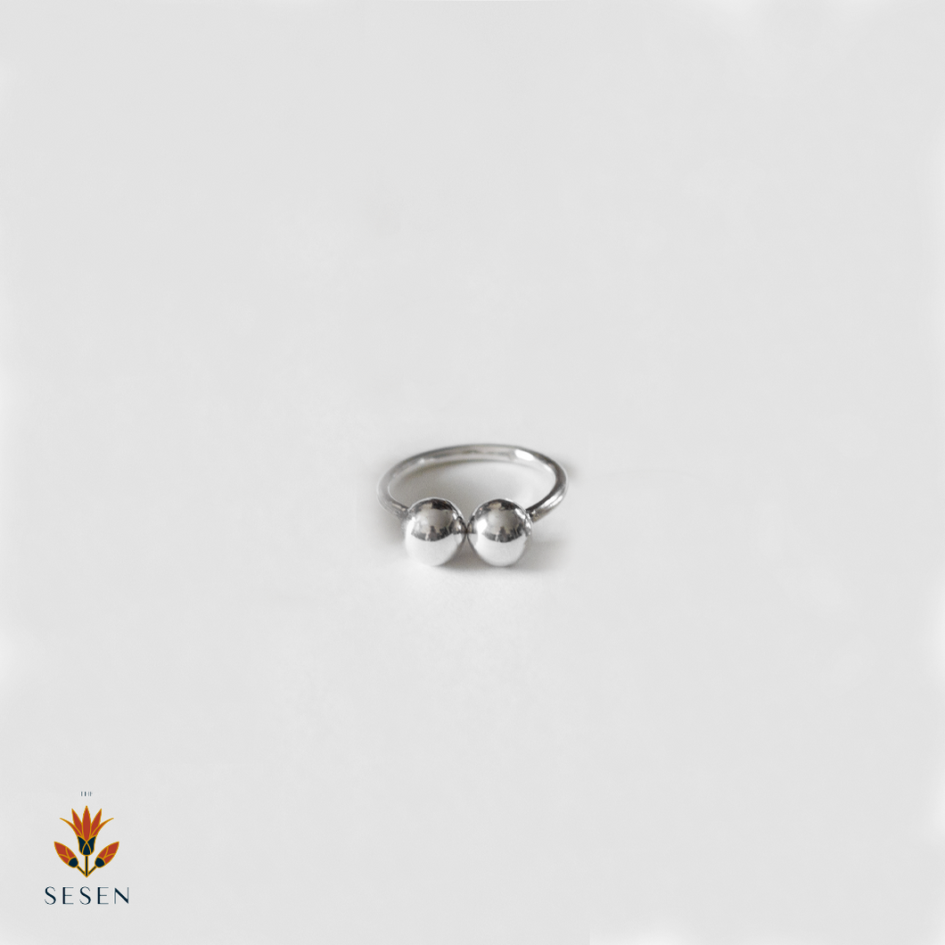 Sterling Silver Adjustable Ring With Connecting Beads